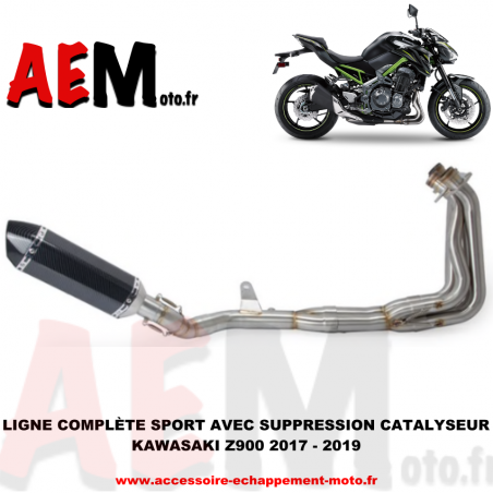 Ligne complète sport en inox avec suppression catalyseur Kawasaki Z900 2017-2019