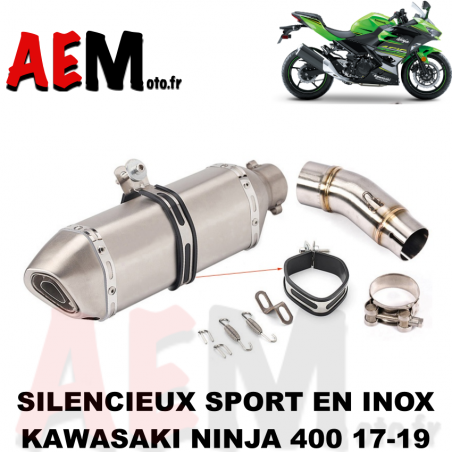 Silencieux sport en inox Kawasaki Ninja 400 2017-2019