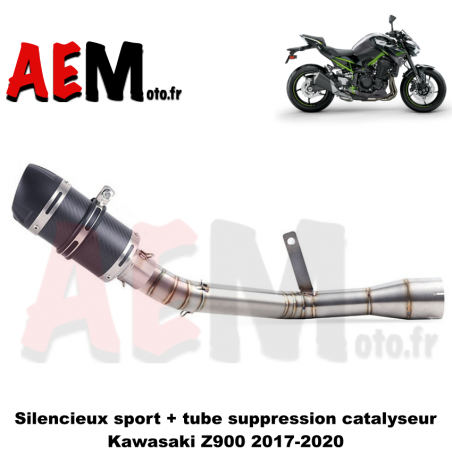 Tube suppression catalyseur + silencieux sport KAWASAKI Z900 2017 - 2020